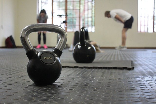 Kettlebells on gym floor
